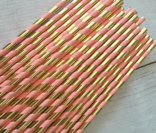 Coral and Gold Straws