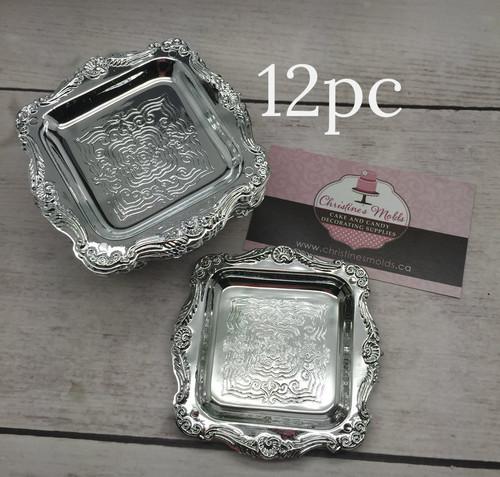 """12pc Silver Tray Mini 3"""""""