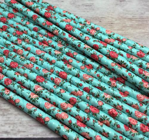 Paper Straws Blue Flower 25pc