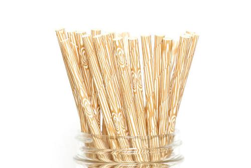 25pc Paper Straws Wood Grain