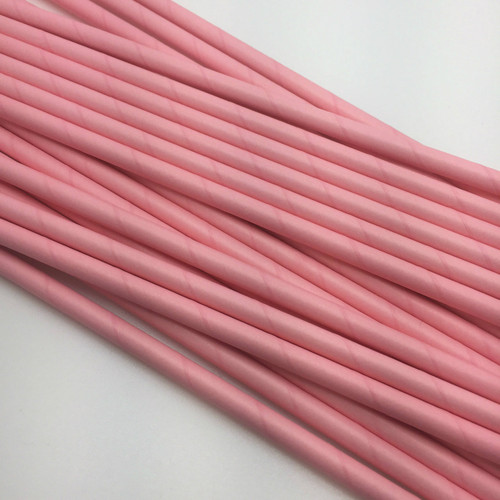 Paper Solid Pink Straws  25pc
