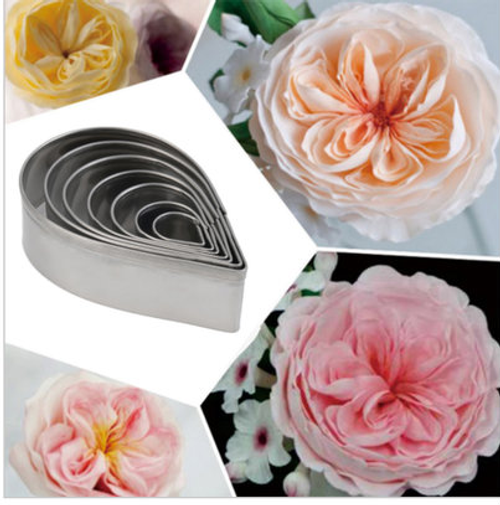 Austin  Rose Flower Cutter Set 7pc Single Petal