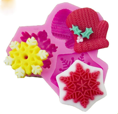 Christmas silicone mold Snowflake and mittens