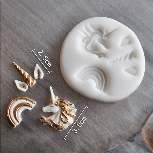 Unicorn Horn Ear and Rainbow  Small  Silicone Mold  Set