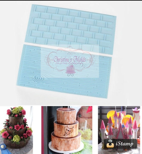 Cake Brick Wall Wood Grain Impression Mat