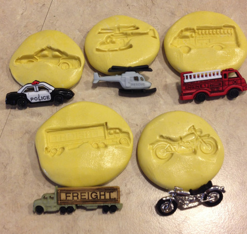 Vehicle Set - Fire Truck Motorcyle Police  Silicone Mold