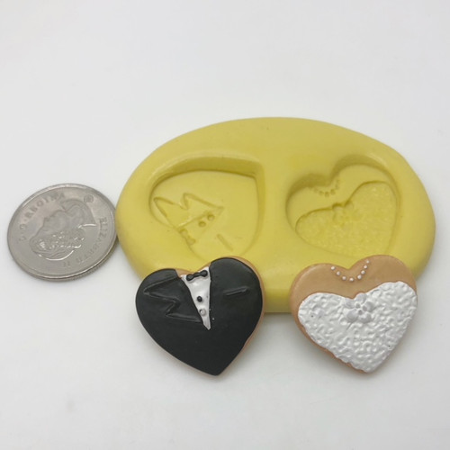 Wedding Bride and Groom Small  Silicone Mold