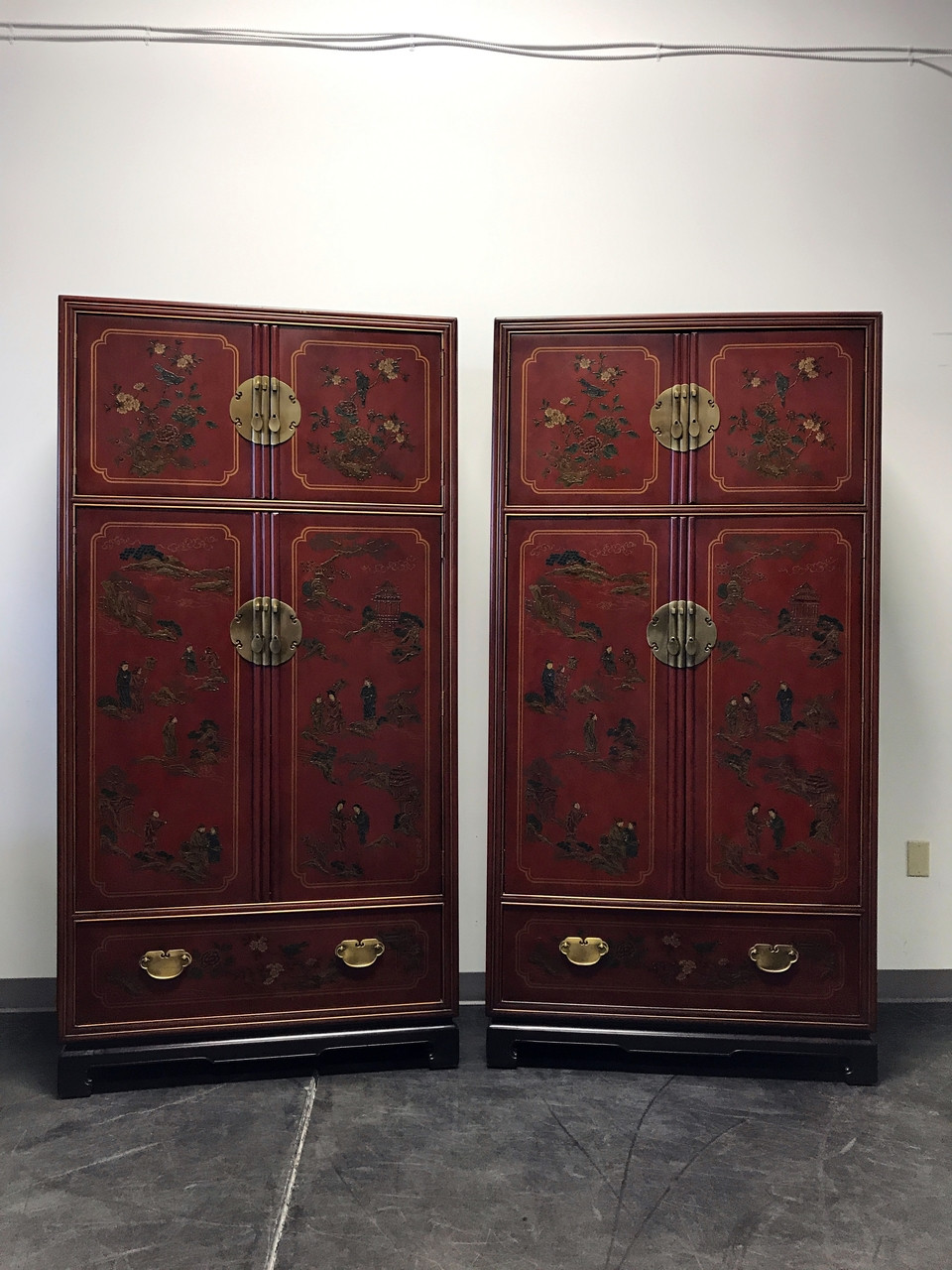 SOLD OUT   DREXEL HERITAGE Mai Ting Asian Chinoiserie Style Armoires   Pair