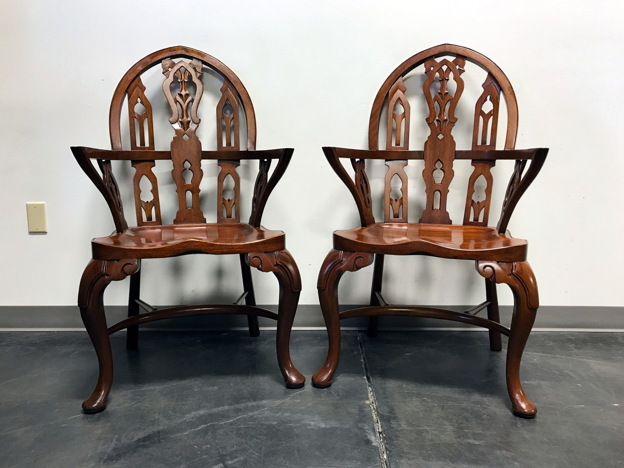 Genial SOLD OUT   MAITLAND SMITH Handmade Solid Mahogany Gothic Style Arm Chairs    Pair