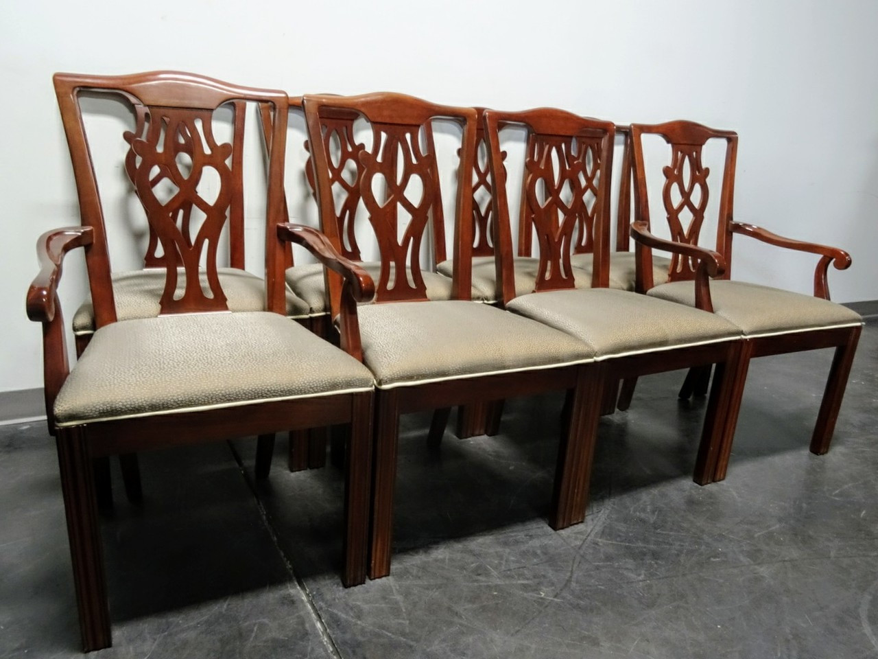 SOLD OUT   DREXEL Chippendale Straight Leg Mahogany Dining Chairs   Set Of 8