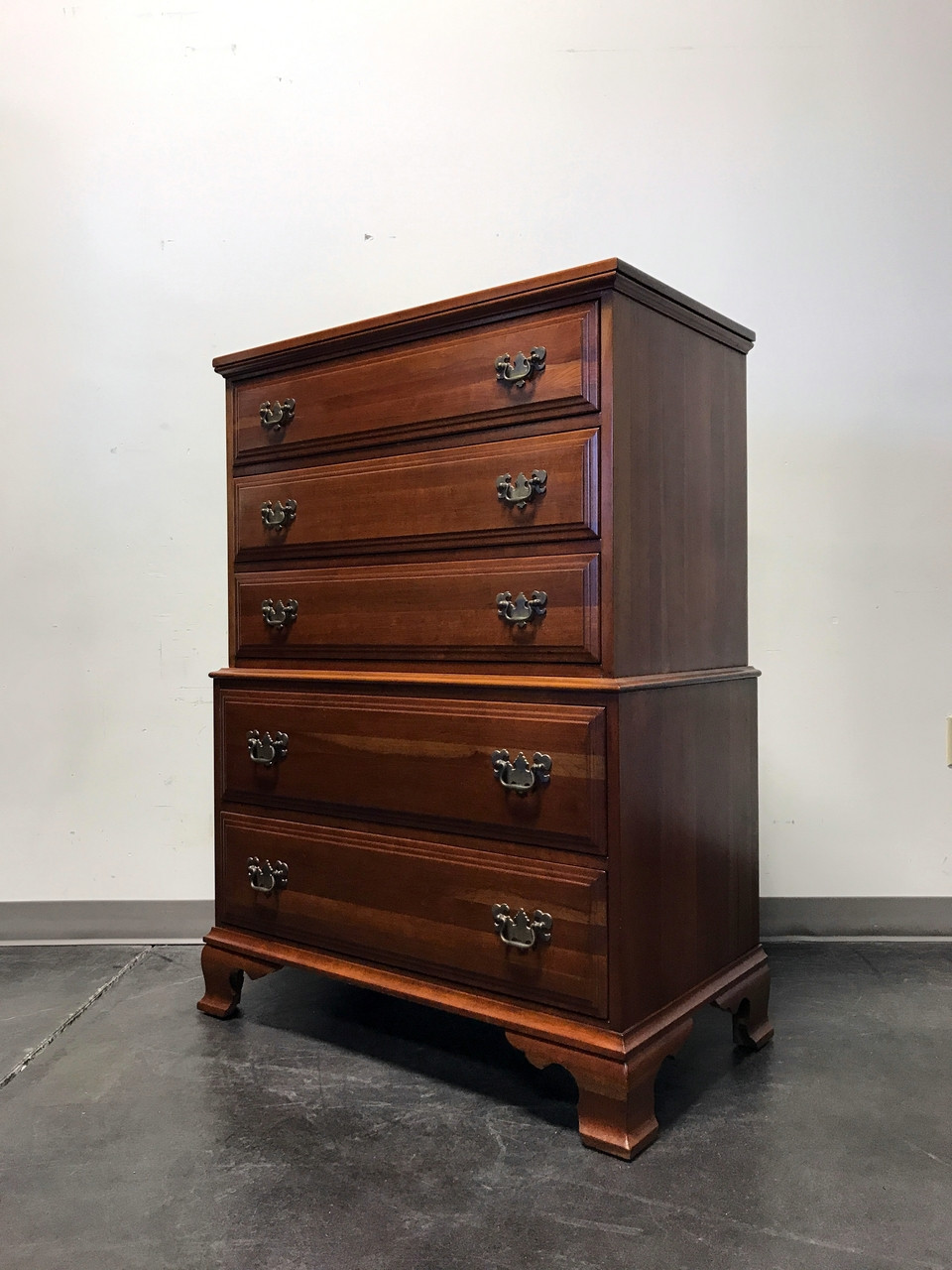 SOLD OUT   DAVIS CABINET COMPANY Solid Cherry Chippendale Chest On Chest