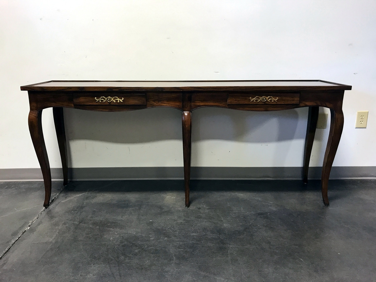 SOLD OUT   HENREDON Inlaid Oak French Country Style Console / Sofa Table