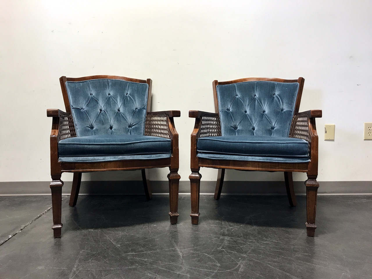 SOLD OUT   Vintage French Style Chairs With Cane And Blue Upholstery