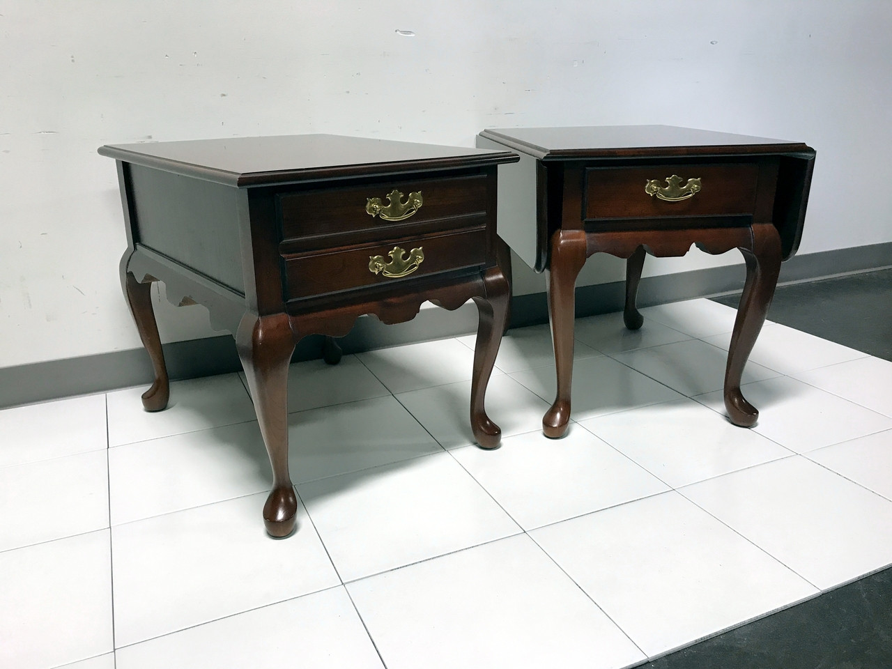 SOLD OUT   Solid Cherry Queen Anne Style Side End Tables By JF DELWOOD    Near