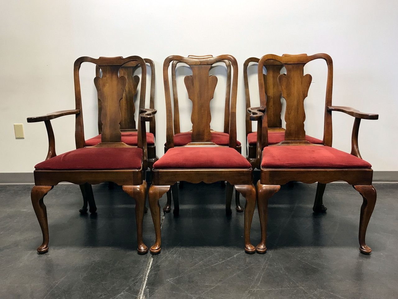 SOLD OUT   STATTON Oxford Antique Cherry Queen Anne Dining Chairs   Set Of 6