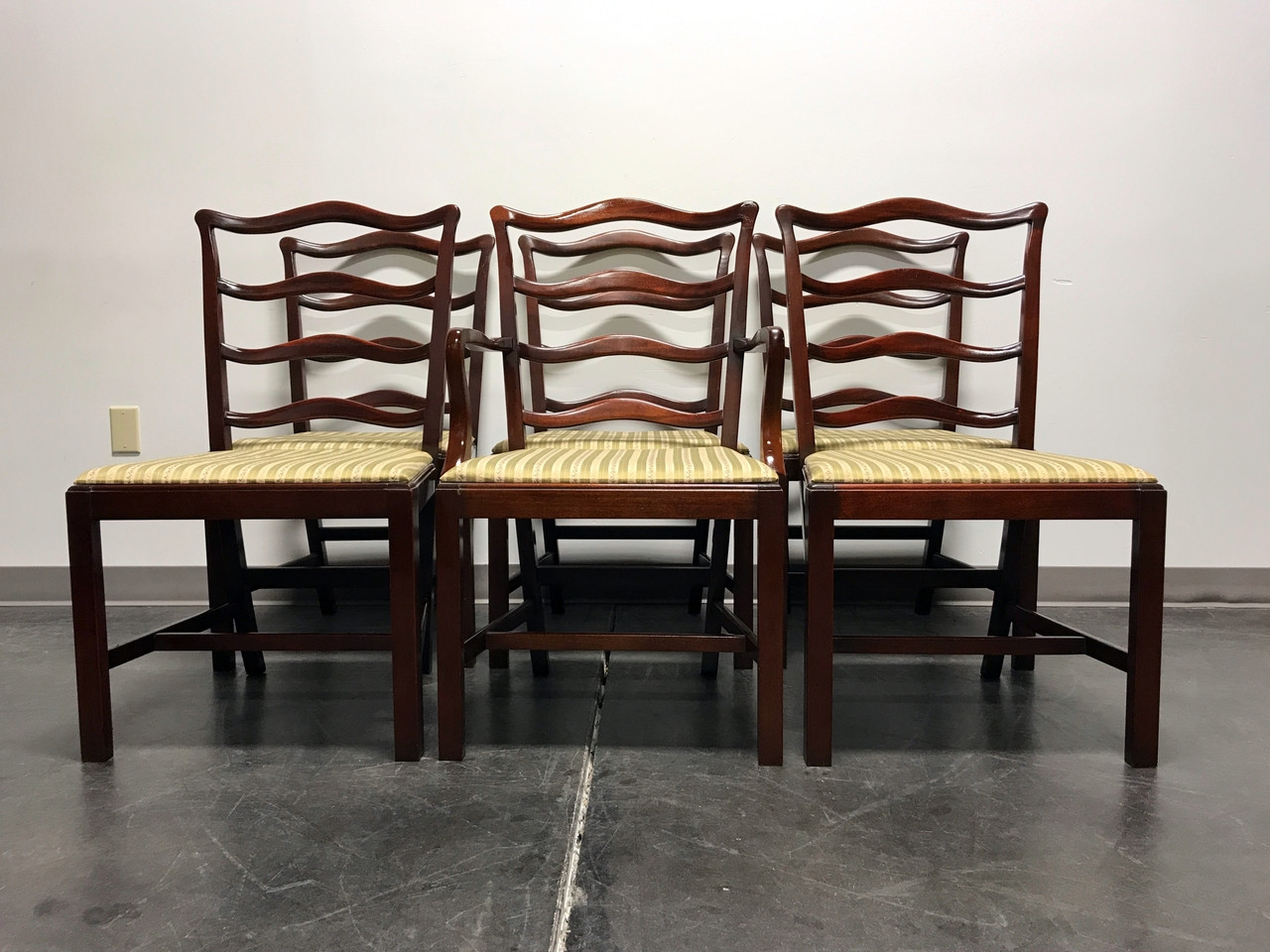 SOLD OUT   GEORGETOWN GALLERIES Solid Mahogany Ladder Back Dining Chairs    Set Of 6