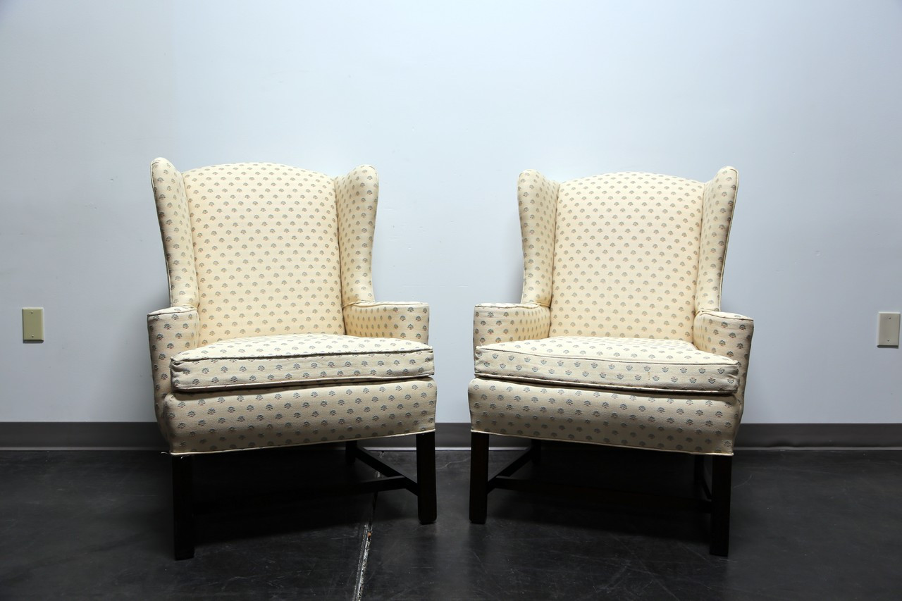 Bon SOLD OUT   Chippendale Style Mahogany Wing Back Chairs By Conover Chair Co    Pair