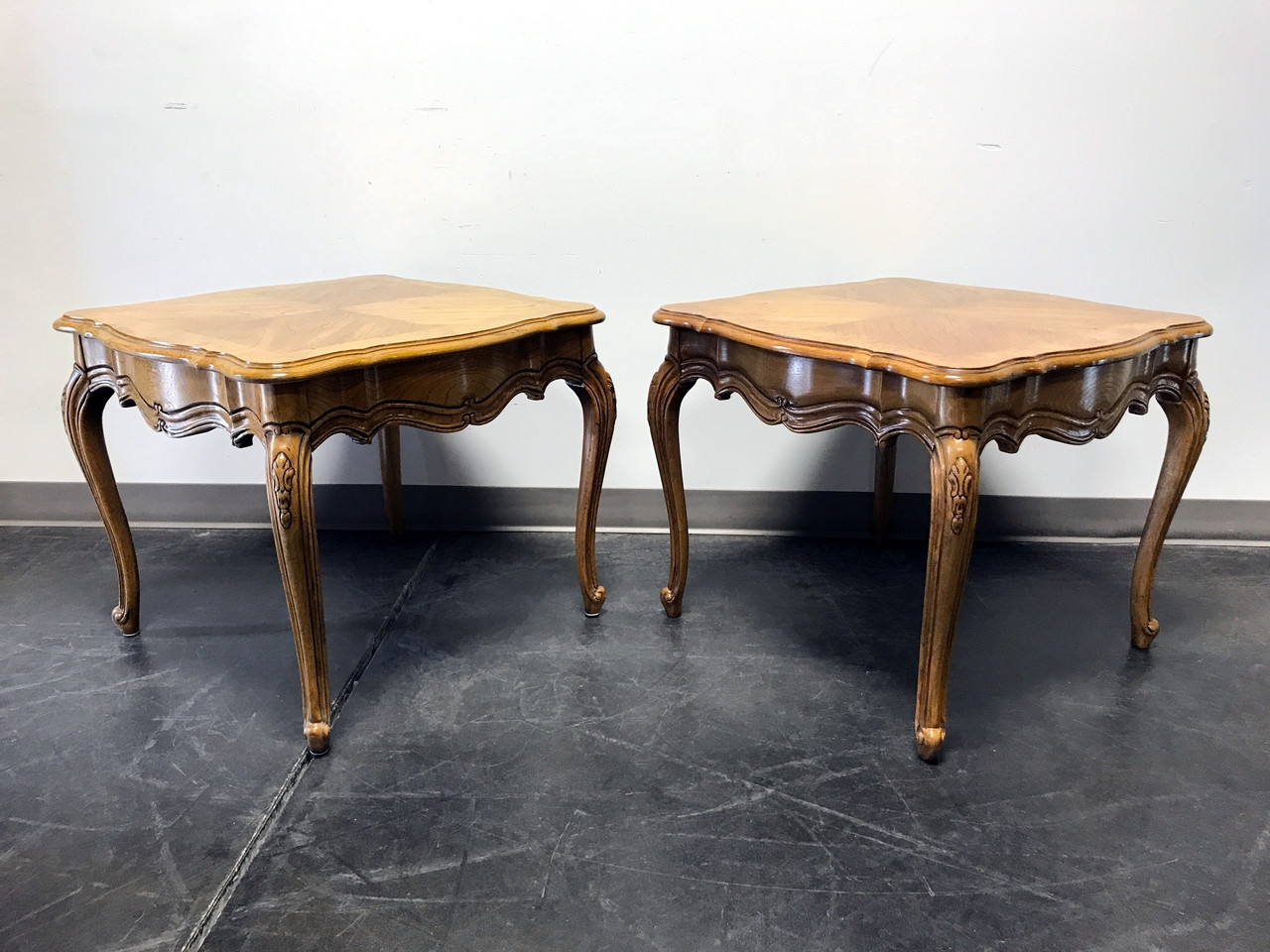 Thomasville french court burl oak end side lamp tables pair thomasville french court burl oak end side lamp tables pair mozeypictures Image collections