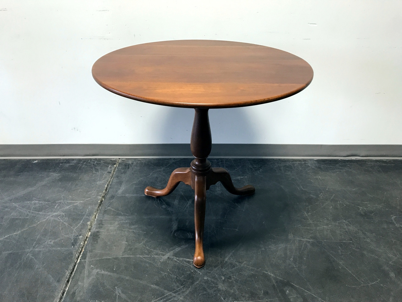 SOLD OUT   Vintage Walnut Round Candle Stand Pedestal Table