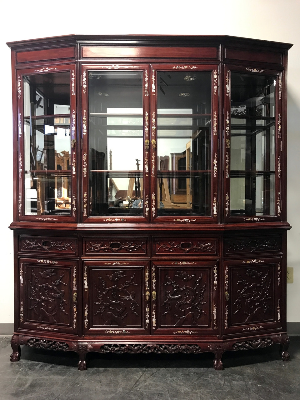 SOLD OUT   Vintage Rosewood With Mother Of Pearl Inlay Asian China Display  Cabinet
