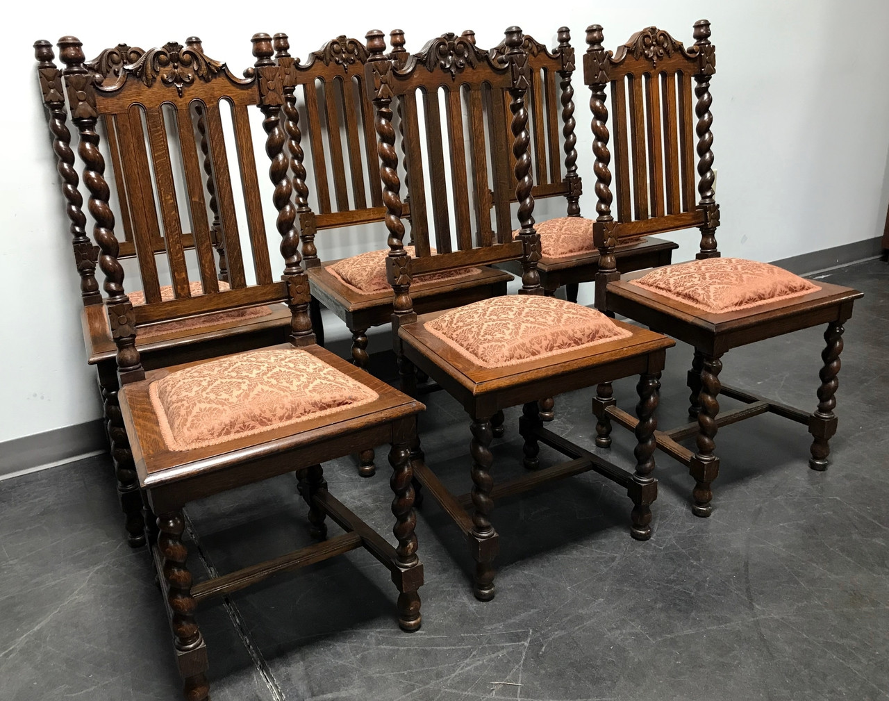 SOLD OUT   Victorian Gothic Tiger Oak Barley Twist Dining Side Chairs   Set  Of 6