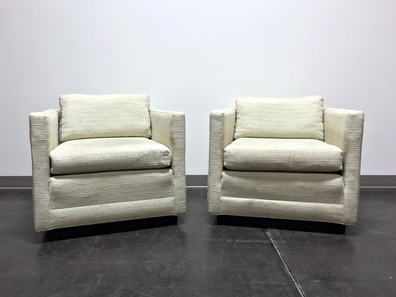 Mid Century Modern MCM Cube Club Chairs In The Style Of Jack Cartwright    Pair