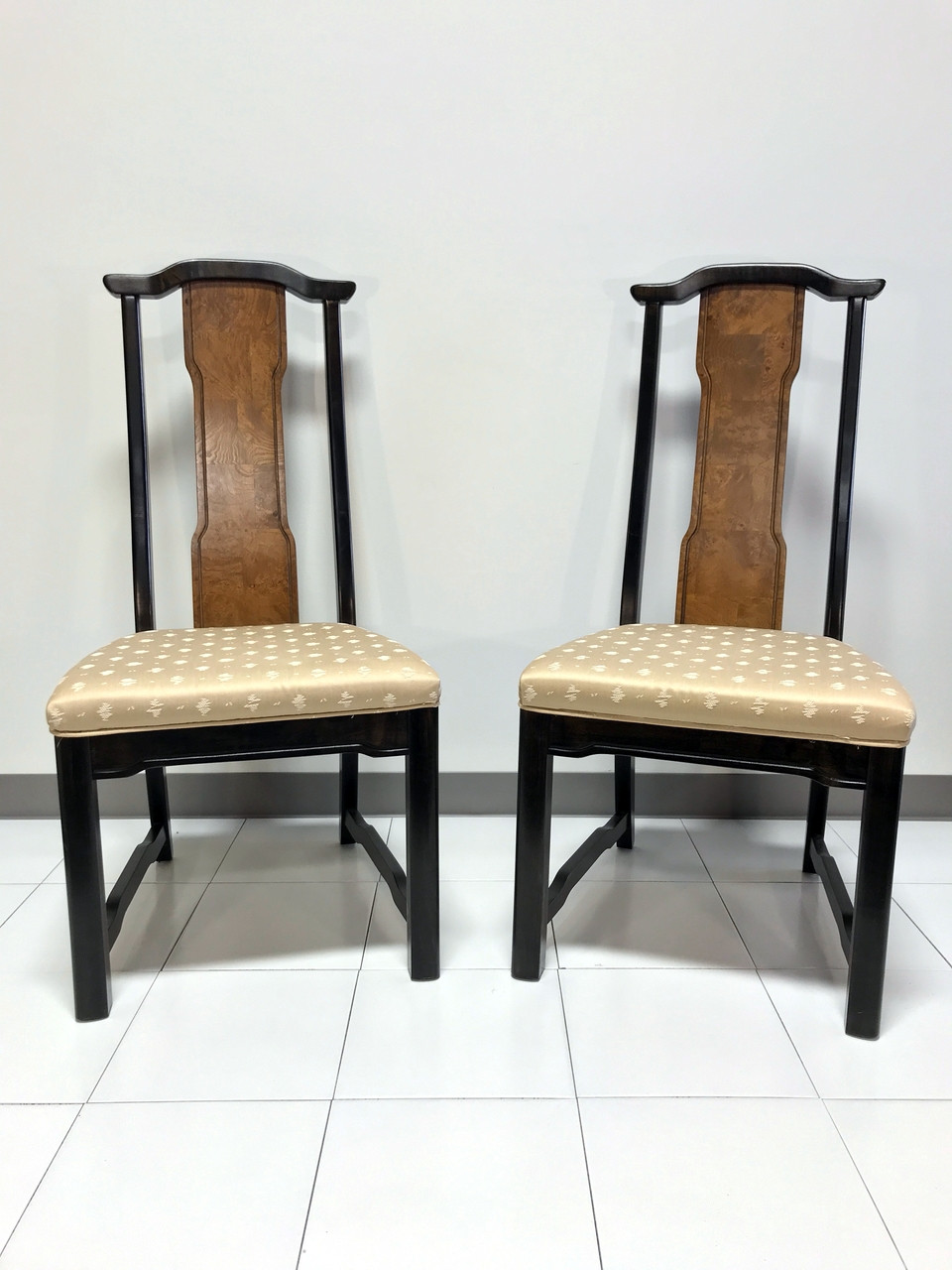 Broyhill Premier Ming Collection Vintage Asian Chinoiserie Dining Side  Chairs   Pair 3