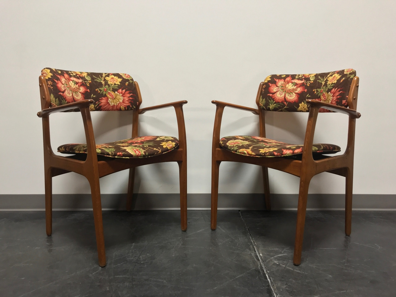Erik Buch For Mobler Model 49 Teak Danish Mid Century Modern Arm Chairs    Pair 2