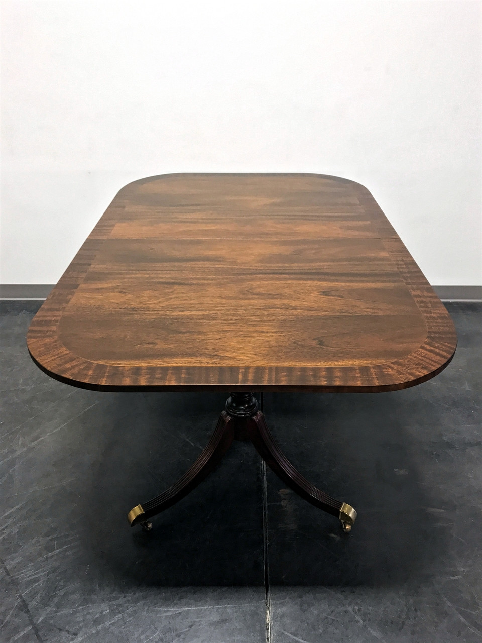 Refurbished Vintage Banded Mahogany Double Pedestal Banquet Dining Table W 3 Leaves