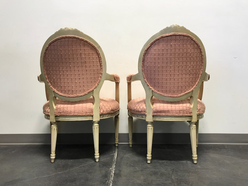 french regency neo classical style accent chairs with pink
