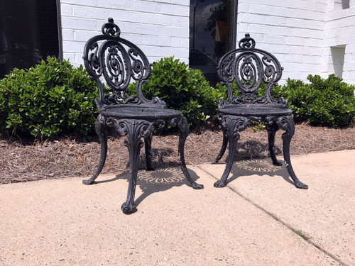 ... SOLD OUT   ADAMS NAVILLUS Antique Cast Iron Garden Chairs   Set Of 2 ...