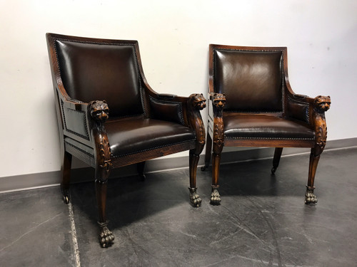 SOLD OUT   THEODORE ALEXANDER Leather Cat Lion Head Chairs W Paw Feet    Pair ...