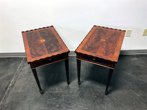 ... SOLD OUT   HEKMAN Copley Place Federal Style Inlaid Flame Mahogany Tea  Tables   Pair ...