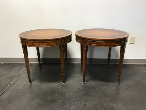 SOLD OUT   Vintage Heritage HENREDON Round Mahogany Leather Top Side End  Tables   Pair