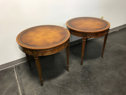 ... SOLD OUT   Vintage Heritage HENREDON Round Mahogany Leather Top Side End  Tables   Pair