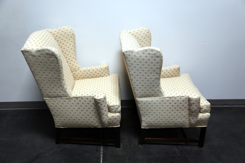 ... SOLD OUT   Chippendale Style Mahogany Wing Back Chairs By Conover Chair  Co   Pair ...