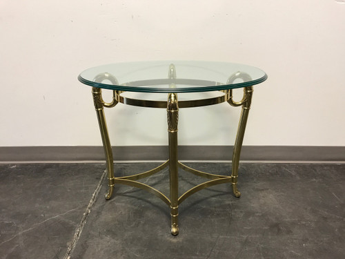 SOLD OUT   Glass U0026 Brass Oval Side / End / Accent Table