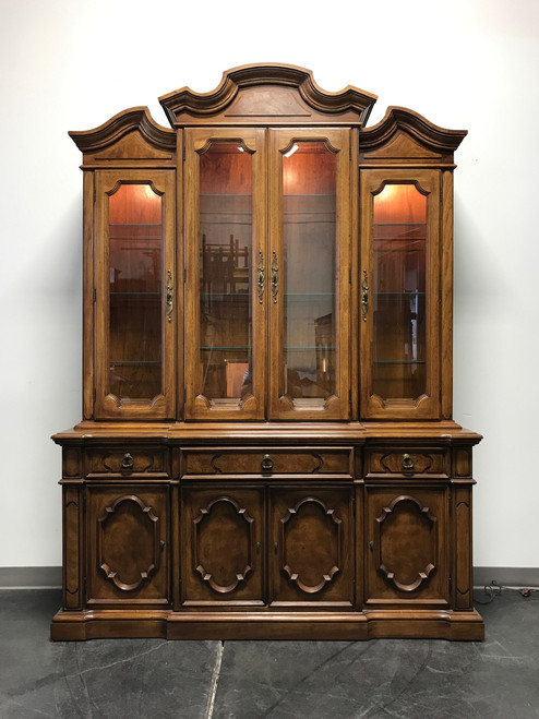 SOLD OUT   THOMASVILLE Ceremony Collection Burl Walnut Breakfront China  Display Cabinet ...