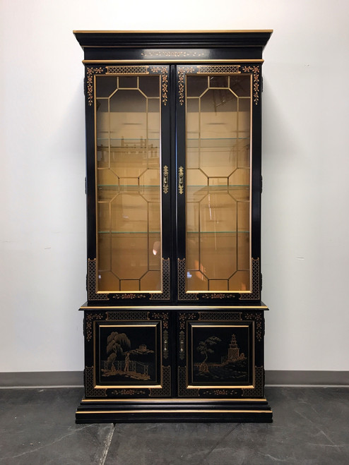 SOLD OUT   HABERSHAM Asian Chinoiserie Black Lacquer Curio China Display  Cabinet