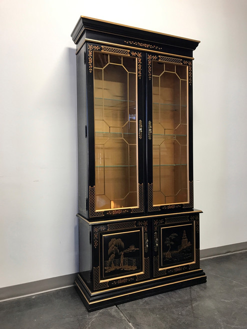 Merveilleux ... SOLD OUT   HABERSHAM Asian Chinoiserie Black Lacquer Curio China  Display Cabinet ...