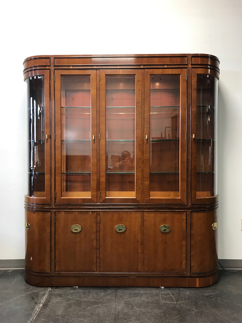 ... HICKORY MANUFACTURING U0027Rafflesu0027 Yew Wood China Display Cabinet