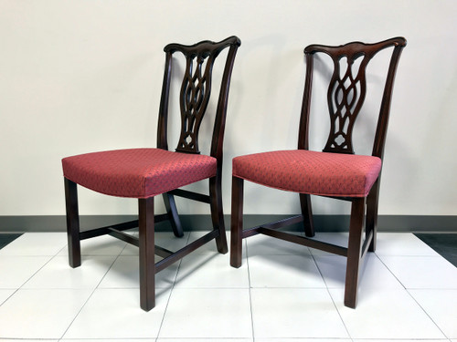 ... SOLD OUT   HICKORY CHAIR Mahogany Chippendale Straight Leg Dining Side  Chairs   Pair 2 ...
