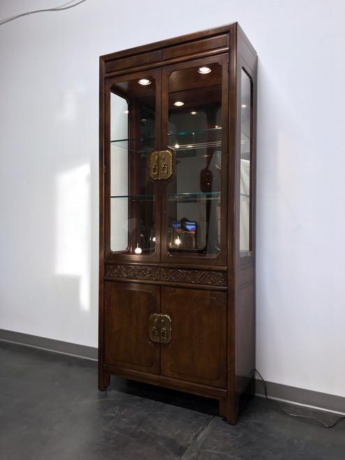 ... HENREDON Folio 16 Asian Chinoiserie Walnut Lighted Curio China Display  Cabinet ...