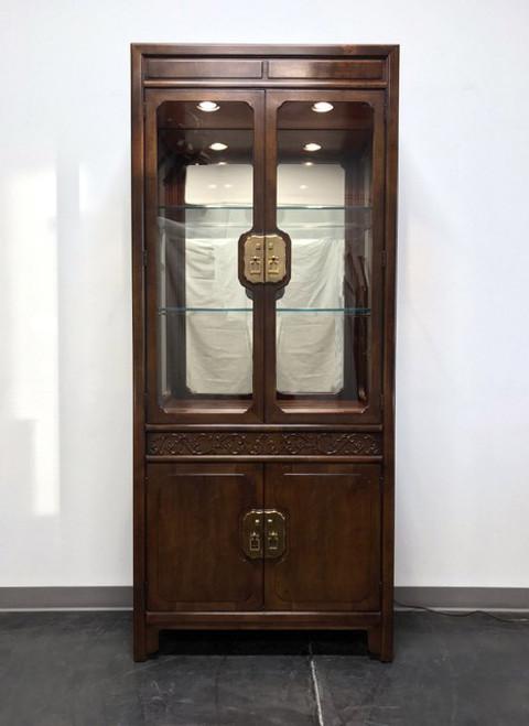 HENREDON Folio 16 Asian Chinoiserie Walnut Lighted Curio China Display  Cabinet