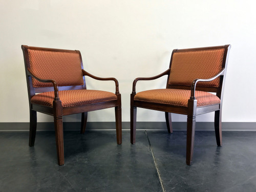 Contemporary Transitional Style Cherry Open Arm Chairs By Fairfield