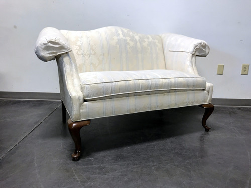 adele loveseat country french white distressed sage and green settee pin