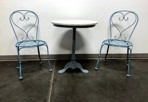 Powder Blue Cast Metal Ice Cream Bistro Set   Marble Top Table U0026 Pair Of  Chairs ...