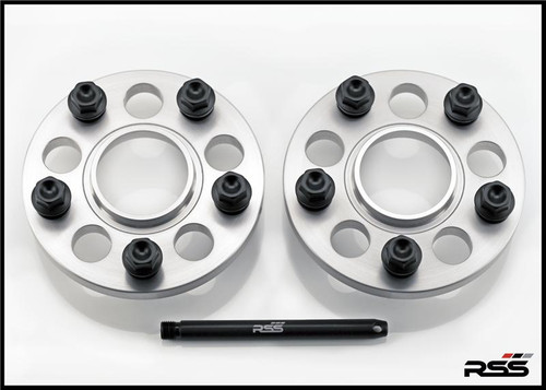 Porsche 15MM SPACERS, SET OF 2 • Perfect for the New 991 981 982 Split Finish Wheel Packages • Kit Includes Silver Spacers and All New Black Wheel Bolts at the Appropriate Longer Length and Locating Pin  • All RSS Wheel Spacer Kits Come In Pairs, Include Locating Pin & Longer Wheel Bolts Where Applicable  • Fitments for Most Late Model Porsche Vehicles Including the Newest 981 & 991  • Available in 5mm, 7mm, 15mm & 18mm Sizes  • Hubcentric Design Where Applicable  • Most Kits Available in Silver or Black with Matching Silver or Black Wheel Bolts  • NEW for 2013 – Combination Finish: Silver Spacers with Black Wheel Bolts (Currently Available In Most Popular Sizes 7mm & 15mm Only)  • Made at RSS in the USA with Premium Grade Materials  • Satisfaction & Fitment Guaranteed