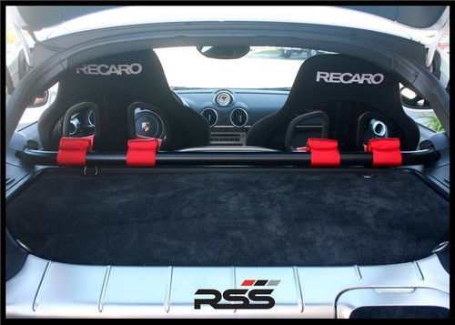 The RSS Cayman Harness Bar is designed to allow the use of harnesses (with proper slotted racing seats) for racing and/or track events Comes standard in a durable satin black powder coat If you have a custom color request, please contact us for details Note: Some minor trimming of the factory plastic will be needed in order to complete install Installation by an experienced technician is recommended