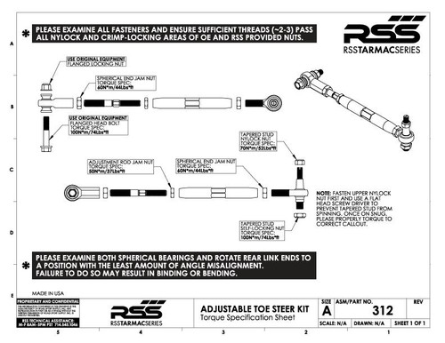 RSS Rear Toe Steer Link/Arm - Outer Ball Joint Pin Rebuild Kit: Includes- 1x Tapered Stud, 1 x Upper Lock Nut, 1 x Lower Lock Nut, 2 x Stud Spacers/Washers. USER NOTE: A new 381 Kit should be installed once ball joint pin has been removed from hub. (Fits Part #312 + #301).